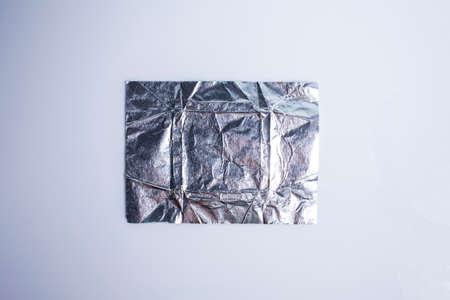 Wrinkled aluminium foil Paper isolated on white background