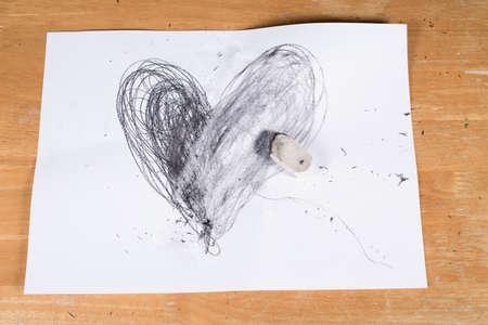 Broken Heart, Heart deleted by  Eraser, Valentines day concept 写真素材