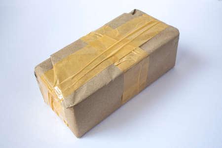Cardboard box with Sticky tape  isolated on white background Zdjęcie Seryjne - 135923334