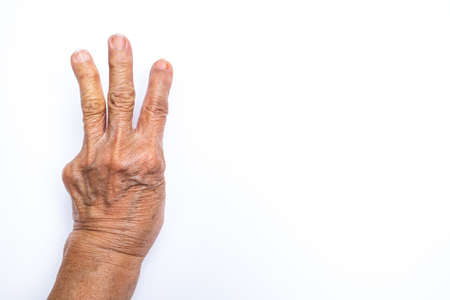 Senior womans hands  counting 3 isolated on white background, Numbers 1-10 in sign language concept