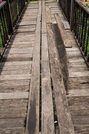 Wooden bridge, Thailand Stock Photo