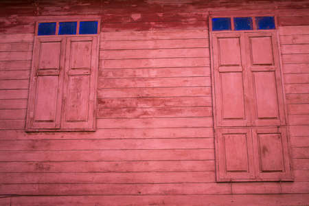 Vintage wooden home windows, Thailand traditional style 写真素材