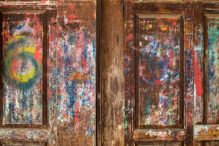 Multicolored paint on vintage wooden home , Thailand traditional style