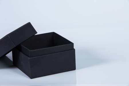 close up of a black box isolated on white background