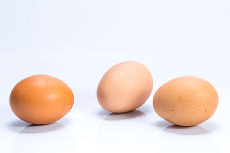 Three eggs isolated on white background Zdjęcie Seryjne