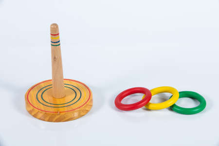 Quoits,  Wooden toy isolated on white background Stok Fotoğraf
