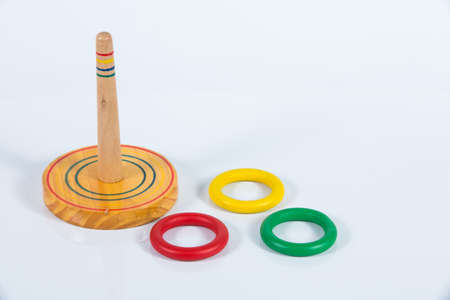 Quoits,  Wooden toy isolated on white background Zdjęcie Seryjne