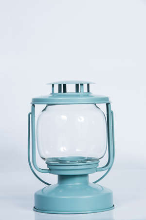 Light blue lantern isolated on white background Zdjęcie Seryjne