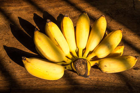 Cultivated banana isolated on wood background