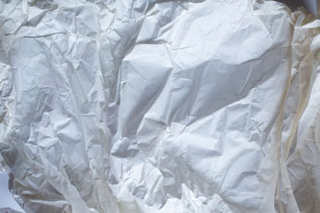 White colour and Grey colour crumpled paper texture background, Gradient tone, Close up shot Stock Photo