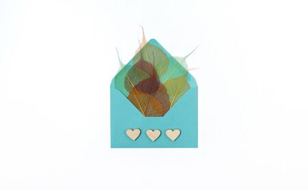 Turquoise envelope with skeletonized colorful leaves at white background. Creative top view flat lay autumn composition. Template mock up fall thanksgiving cards