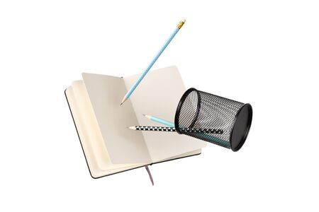 Office supplies stationery levitate over white background. Back to school work education creative layout Foto de archivo