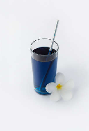 Iced blue butterfly pea drink. Healthy thai traditional cocktail in glass