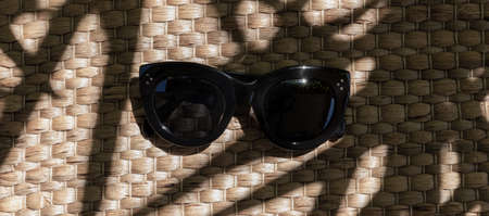 Summer sunlight with palm leaf shadow with trendy sunglasses on straw background. Fashion blogger concept