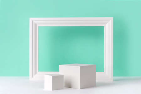 Mock up background with podium for product display and frame 免版税图像