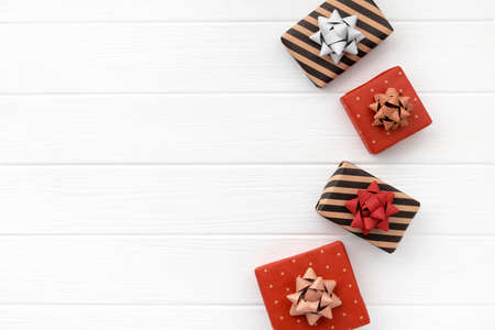 New Year, Christmas or Valentines Day gift boxes on wooden background 免版税图像