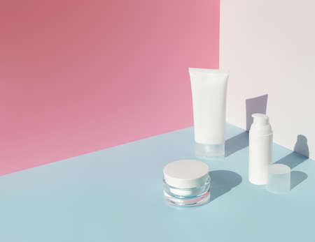 Set of cosmetics with sunlight. Summer body care beauty treatment concept