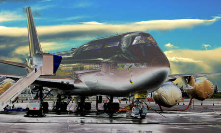 underbelly: Jet on the tarmac under construction.