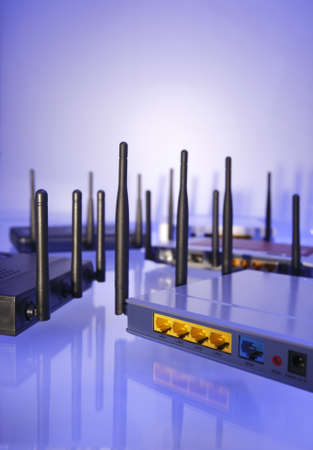 Wlan Router in blue light  Stock Photo
