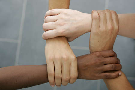 diverse hands: International Teamwork