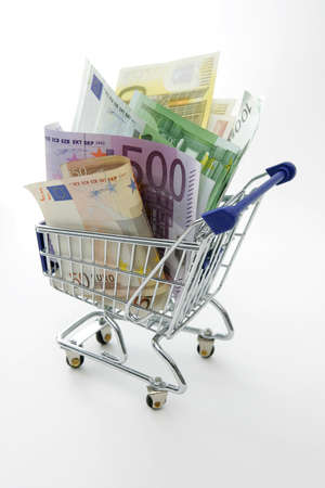 Mini shopping cart with euro banknotes  Stock Photo - 8824380