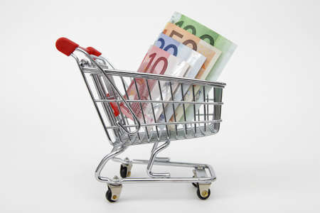 Mini shopping cart with euro banknotes on white background Stock Photo - 8824273