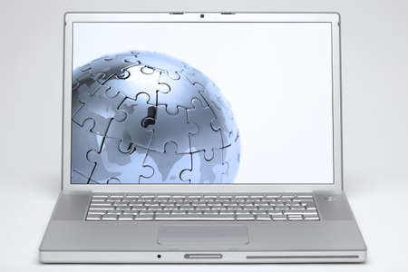 laptop on white background with a globe on screen photo