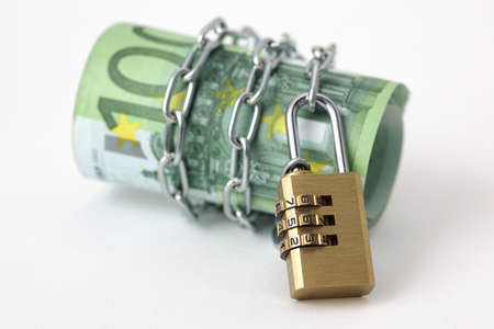 Euro notes with lock and chain  Stock Photo
