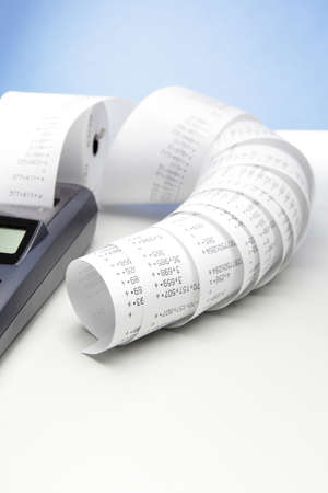 desktop calculator with paper roll  Stock Photo