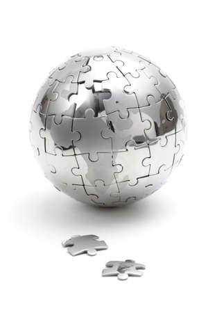 missing: Metal puzzle globe isolated on white background Stock Photo