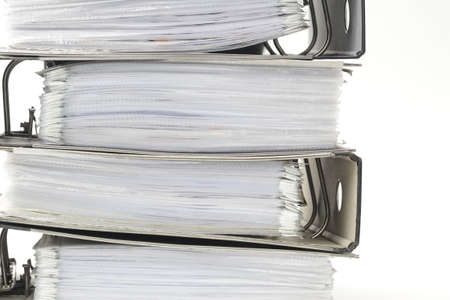 Stack of office ring binders photo