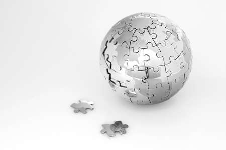 Metal puzzle globe isolated on white background Zdjęcie Seryjne