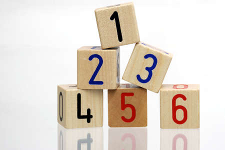 Ranking - wooden blocks with numbers on white background