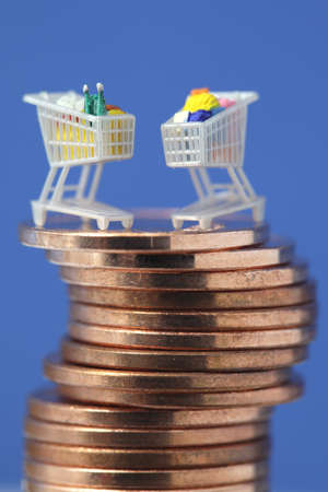 Miniature shopping carts on top of euro coin stack Stock Photo - 9320132