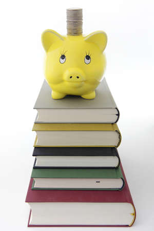 Yellow Piggy bank on a pile of books  photo