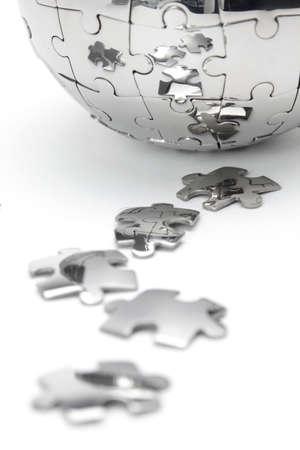 금속 퍼즐 글로브 근접, 흰색 배경에 고립 스톡 콘텐츠
