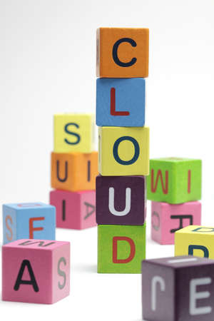 Cloud computing, wooden blocks on white background Stock Photo - 9465191