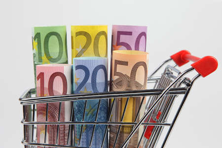 Mini shopping cart with euro banknotes on white background Stock Photo - 9465216