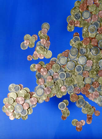 Map of Europe made of Euro coins