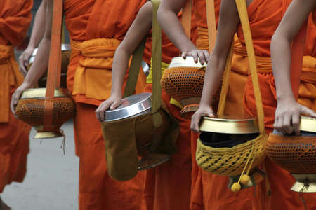 monks in Loung phabang, lao