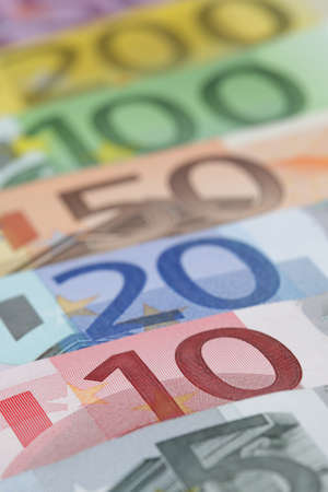 european money: Euro banknotes, close-up Stock Photo