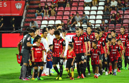 premier: Nonthaburi Thailand  March7   :Thailand Premier League. Competition football teams SCG Muangthong United and Port f.c. March 72015  in NonthaburiThailand