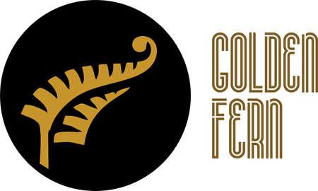 Golden fern concept logo. digital illustration.