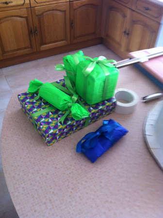 tissue paper: Tissue paper presents green  Stock Photo