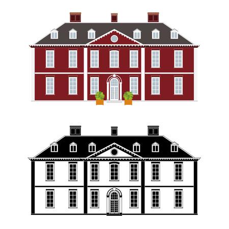 18 世紀アン女王様式、色および黒のモノクロ バージョン別のレイヤー上での大邸宅