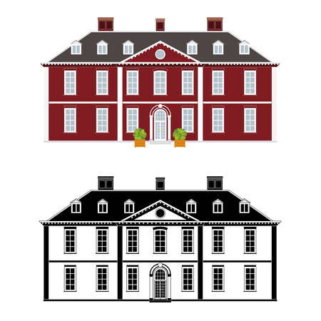 Mansion in 18th century Queen Anne style, color and black monochrome version on different layers Illustration