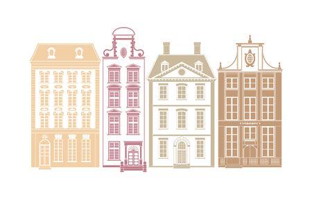 row of houses: Fila de cuatro casas de la ciudad en los estilos del siglo 19 Vectores