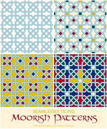 moorish: Set of four seamlessly tiling moorish patterns  Easily editable with layers and color swatches
