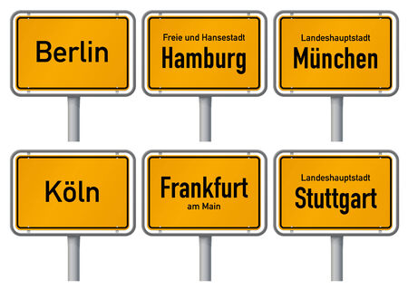frankfurt: City limits signs of major german cities, Part 1 Vector illustration of city limits signs of six big cities in Germany - Berlin, Hamburg, Munich, Cologne, Frankfurt and Stuttgart - with realistic shading and official typeface and proportions