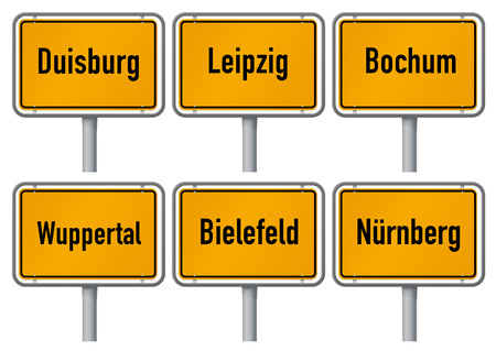 City limits signs of major german cities, Part 3  Vector illustration of city limits signs of six big cities in Germany - Duisburg, Leipzig, Bochum, Wuppertal, Bielefeld and Nuremberg - with realistic shading and official typeface and proportions